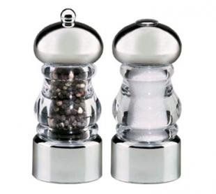 Lori Salt & Pepper Mill Set, Clear Acrylic With Stainless Steel Accents