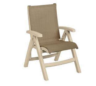 Grosfillex Belize Midback Folding Chair CT355066, Taupe With Sandstone Frame, Set of 2