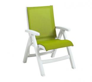 Grosfillex Belize Midback Folding Chairs CT393004, Fern Green With White Frame, Set of 2