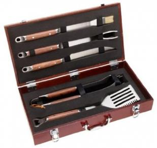 Mr. BBQ 5 Piece Barbeque Grilling Tool Set With Wood Case