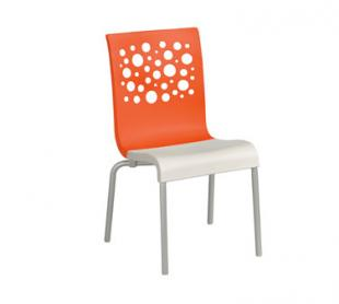 Grosfillex Tempo Stacking Side Chairs - Pack of 4 - Orange - US021019