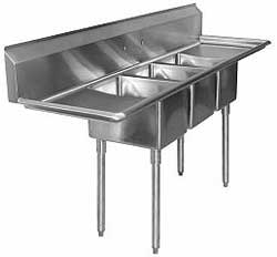 "Aero Stainless Steel Three Compartment Sink, 18"" x 18"" Bowls, Left And Right Drainboards"