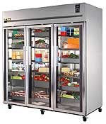 Stainless Steel, Deep Top Mount Glass Door Refrigerator T-TR3R-3G