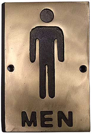 Vintage Antique Bronze Restroom Signs