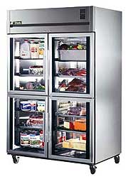 Top Mount Deep Reach-In Half Glass Door Refrigerator - 56 Cubic Feet