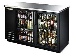 TRUE Back Bar Cooler, 2-Section, Glass Doors, 88 Six-Pack Capacity