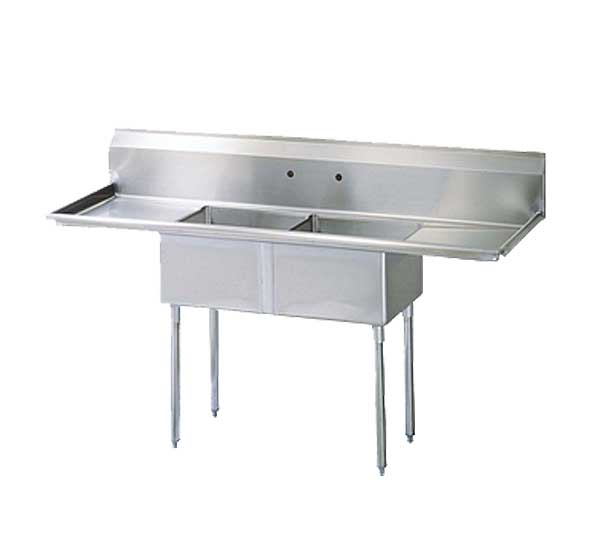"Turbo Air Sink 2-compartment With 24"" Left & Right-hand Drainboards - TSA-2-14-D2"