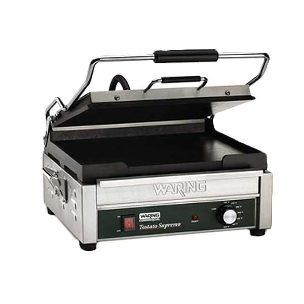 """Waring Commercial Tostato Supremo Panini Grill Full Size 14""""x14"""" Flat Cast Iron Cooking Surface - WFG275"""