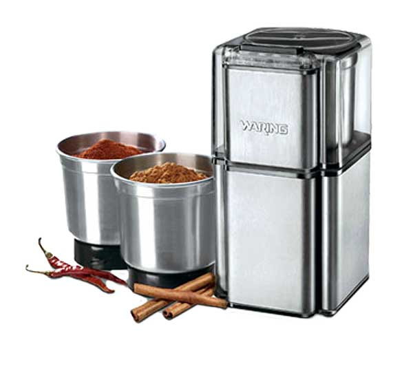 Waring Commercial Professional Spice Grinder Electric With 3 Stainless Steel Grinding Bowls & Storage Lids - WSG30