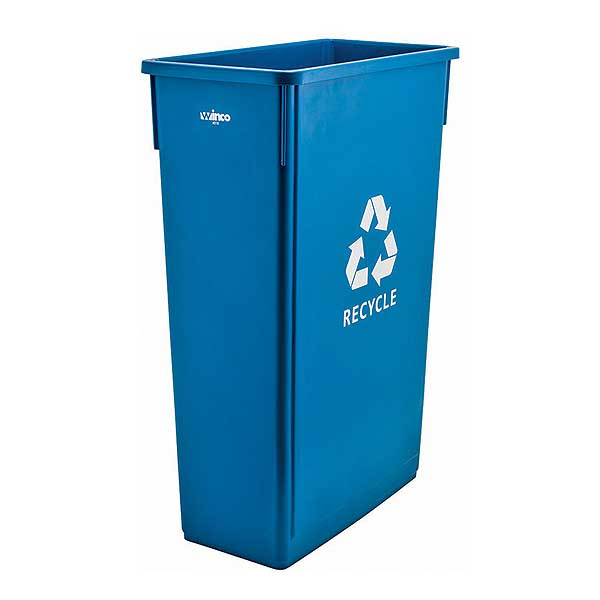 """Winco Slender Recycle Trash Can 23 Gal With """"Recycle"""" Sign - PTC-23L"""
